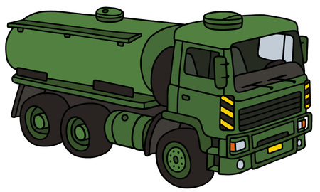 vehicle combat: Hand drawing of a green military tank truck - not a real model