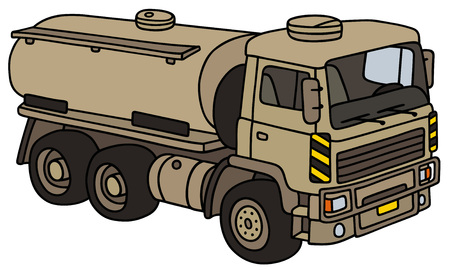 troop: Hand drawing of sand military tank truck - not a real model