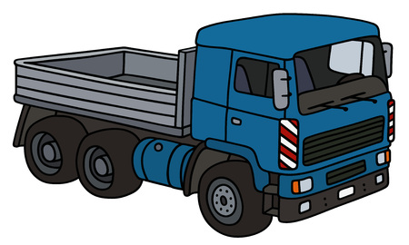 cartoon land: Hand drawing of a blue truck - not a real model Illustration