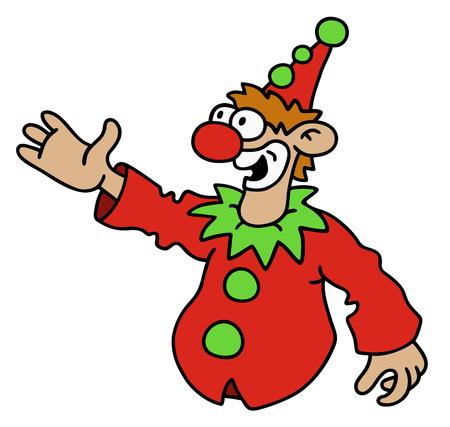 payasos caricatura: Gr�fico de la mano de un Goof divertido rojo Vectores