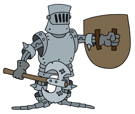 cavalier: Hand drawing of a funny knight