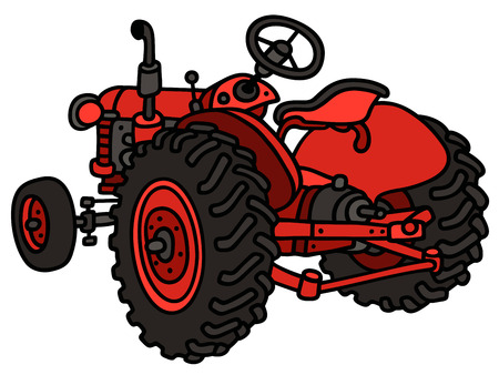 red  open: Hand drawing of a classic red open tractor