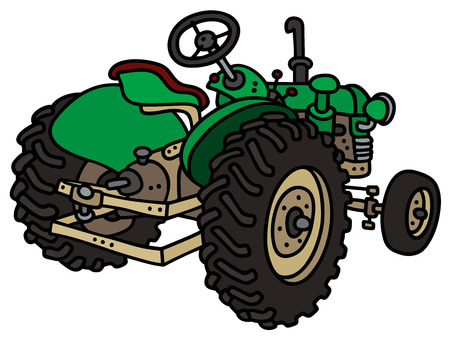 cartoon land: Hand drawing of a classic green open tractor Illustration