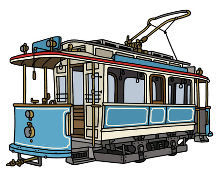 streetcar: Hand drawing of a vintage blue and white tramway