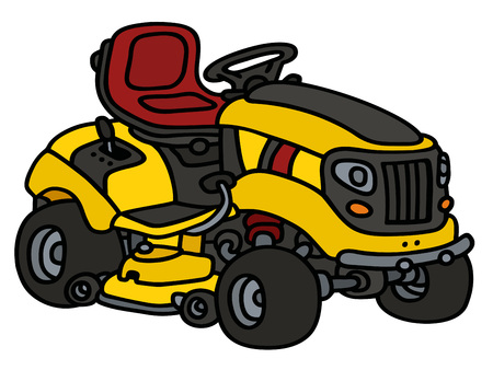 yellow tractors: Hand drawing of a yellow garden lawn mower
