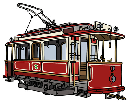 tramway: Hand drawing of a vintage dark red tramway