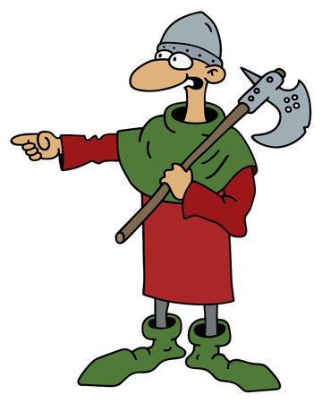 chap: Funny Varlet with a war ax Illustration