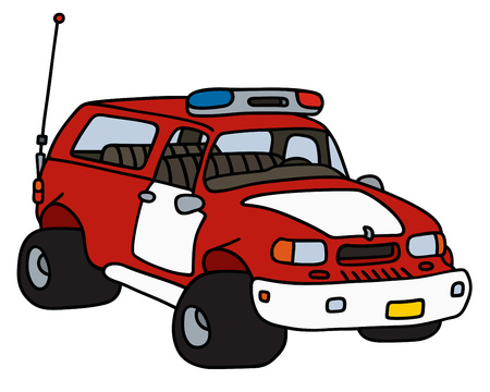 patrol: Hand drawing of a fire patrol car Illustration