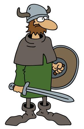 Funny old viking warrior Ilustração