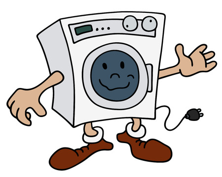 auto washing: Hand drawing of a funny automatic washing machine