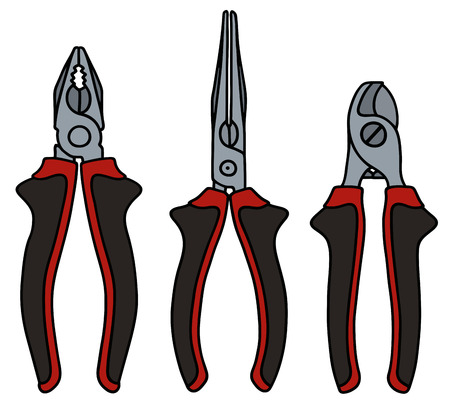 nipper: Hand drawn and a set of three pliers