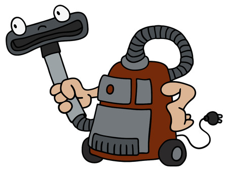 sucking: Hand drawing of a funny vacuum cleaner