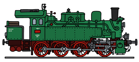 steam locomotive: Hand drawing of an old green steam locomotive