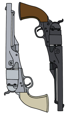 handguns: Hand drawing of two handguns classic american Illustration