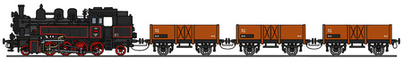 Gráfico de la mano de un viejo tren de vapor Ilustración de vector