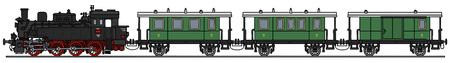 steam train: Hand drawing of a classic steam train