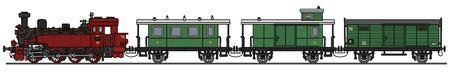 Gráfico de la mano de un tren de vapor de época