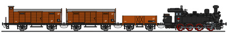 loco: Hand drawing of a vintage steam train