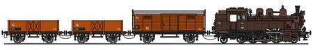 Handzeichnung eines alten Dampfzug Standard-Bild - 55727665