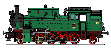 steam locomotive: Hand drawing of a classic green steam locomotive