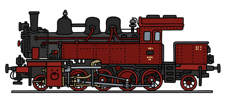 steam locomotive: Hand drawing of a red vintage steam locomotive Illustration