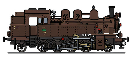 steam locomotive: Hand drawing of a brown classic steam locomotive Illustration