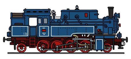 steam locomotive: Hand drawing of a classic blue steam locomotive