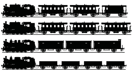 loco: Hand drawing of old steam trains Illustration