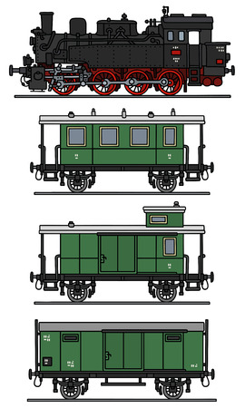 loco: Hand drawing of a classic steam train