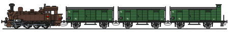 Hand drawing of a classic steam train