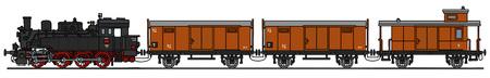 Gráfico de la mano de un viejo tren de vapor