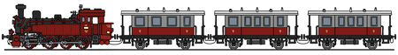 loco: Hand drawing of a classic red steam train