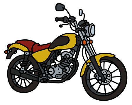Hand drawing of yellow light motorcycle Vector Illustration