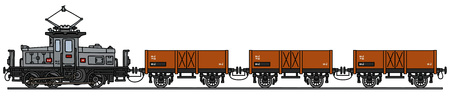 electric material: Hand drawing of a vintage electric train Illustration