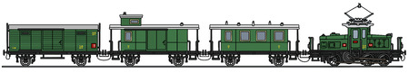 electric train: Hand drawing of a vintage green electric train