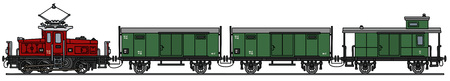 Hand drawing of a vintage electric train Vector Illustration