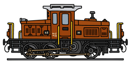 loco: Hand drawing of an old small diesel locomotive