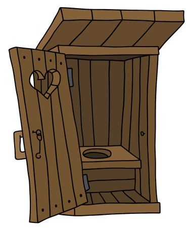 Zeichnung einer alten Holzhütte Latrine Standard-Bild - 55956010