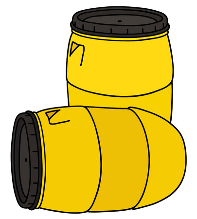 drawing of two yellow plastic barrels