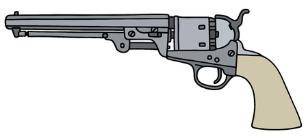 drawing of a classic Wild West revolver Illustration