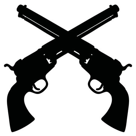 dibujo de dos revólveres que cruzan Wild West