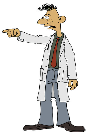 chap: Hand drawing of a funny scientist