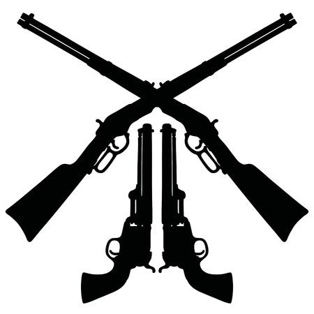 cañones negros clásicos Wild West Ilustración de vector