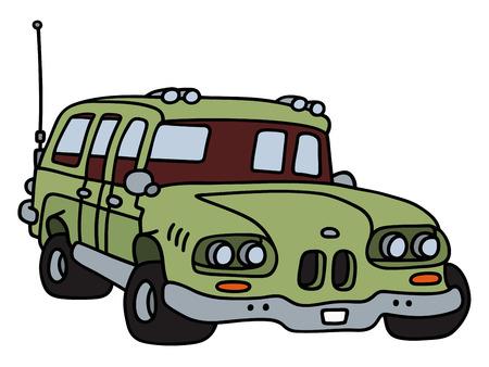combi: Funny classic big green station wagon