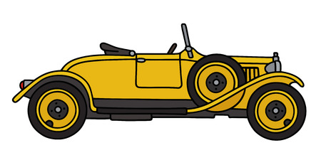 roadster: Hand drawing of a vintage yellow roadster
