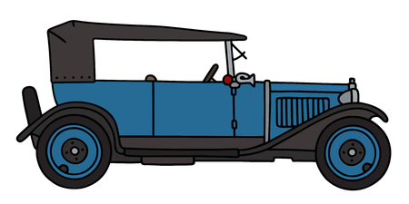 cabriolet: Hand drawing of a vintage blue cabriolet