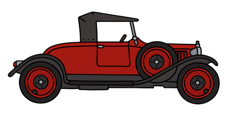 roadster: Hand drawing of a vintage red roadster