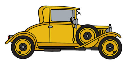 coupe: Hand drawing of a vintage yellow coupe