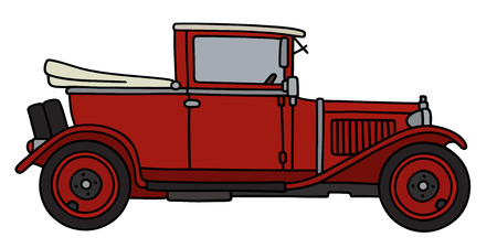 Hand drawing of a vintage red car