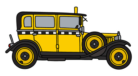 yellow taxi: Hand drawing of a vintage yellow taxi